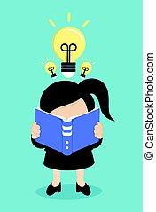 vrouw, boek, lezende , zakelijk
