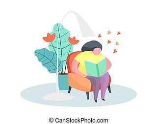 vrouw, boek, mollig, thuis, stoel, lezende