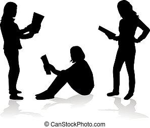 vrouw, -, boek, profiles., conceptueel, lezende