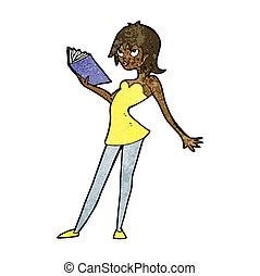 vrouw, boek, spotprent, lezende