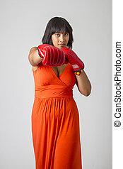 vrouw, bokser