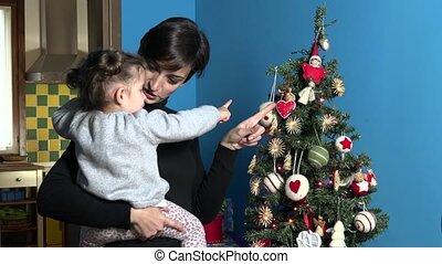 vrouw, boompje, kerstmis, mamma, kind, kerstmis
