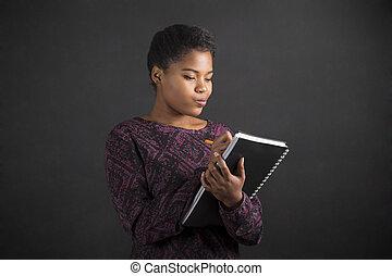 vrouw, bord, schrijvende , amerikaan, boek, dagboek, achtergrond, afrikaan