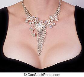vrouw, borst, met, juwelen