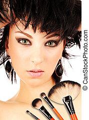 vrouw, borstels, make-up