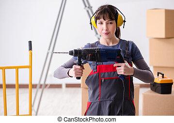 vrouw, bouwterrein, aannemer, bouwsector, boor, hand