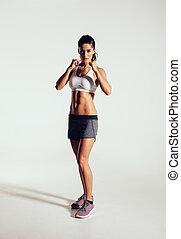 vrouw,  Boxing, jonge, het uitoefenen,  studio, sterke