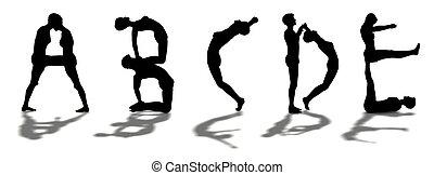 vrouw, brieven, alfabet, gevormde, abcde, /, man