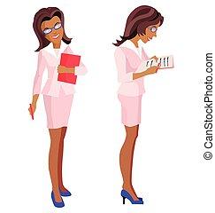 vrouw, bril, kostuum