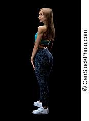 vrouw, brunette, back, fitness