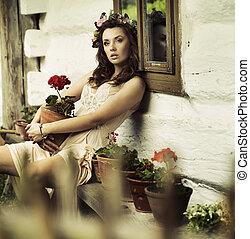 vrouw, brunette, bloemen, puur