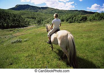 vrouw, buitenshuis, paardrijden, paarde, in, landschap,...