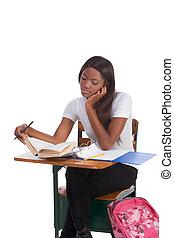 vrouw, bureau, amerikaan, college student, afrikaan