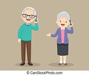 vrouw, cel, klesten, beweeglijk, het spreken, man, mamma, papa, telefoon.