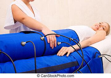 vrouw, centrum, beauty, machine, pressotherapy, benen