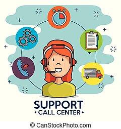 vrouw, centrum, dienst, steun, telefoongesprek