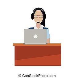 vrouw, centrum, werkende , draagbare computer, roepen, anwender