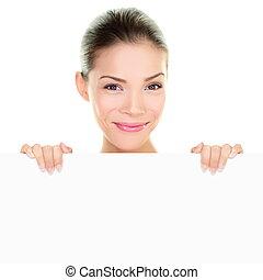 vrouw, chinees, beauty, het tonen, meldingsbord, aziaat, vasthouden