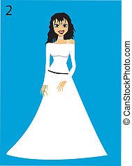 vrouw, clipart, trouwfeest, vector, jurkje
