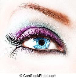 vrouw, closeup, abstract, oog, mooi