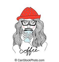 vrouw, coffee., illustratie, jonge, vrijstaand, achtergrond., vector, drinkt, hoedje, wit rood