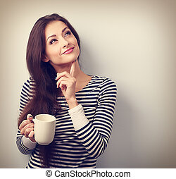 vrouw, coffee., kop, denken, ouderwetse , betrokken, jonge, ...