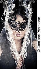 vrouw, concept., masker, maagd, spiritualiteit, het poseren, fantasy.veiled, studio.