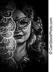 vrouw, concept., masker, maagd, spiritualiteit, het poseren, mystery.veiled, studio.