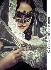 vrouw, concept., masker, maagd, spiritualiteit, vestal.veiled, het poseren, studio.