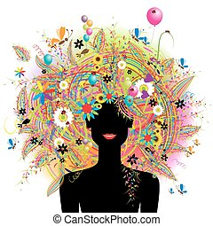 vrouw confronteren, feestelijk, floral, hairstyle