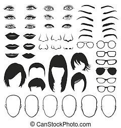 vrouw confronteren, onderdelen, oog, bril, lippen, en, hair., vector, set