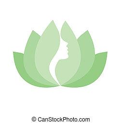 vrouw confronteren, profiel, in, lotus bloem