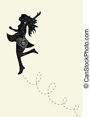 vrouw, creatief, dancing