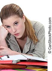 vrouw, dagboek, haar, schrijvende