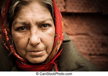 vrouw, dakloos