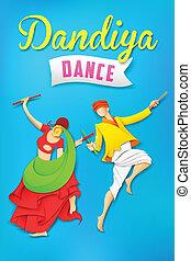 vrouw dansen, dandiya, garba, spelend, man