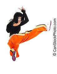 vrouw, danser, in, gecompliceerd, sprong