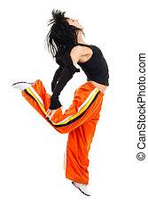 vrouw, danser, in, springt, pose