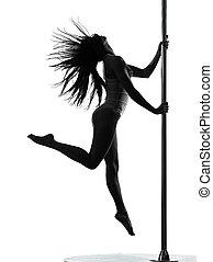 vrouw, danser, pool, silhouette