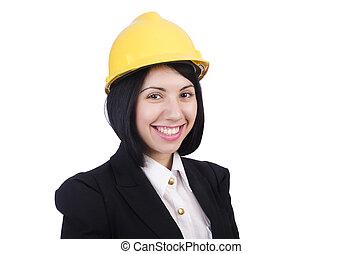 vrouw, de arbeider van de bouw, met, helm, vrijstaand, op wit