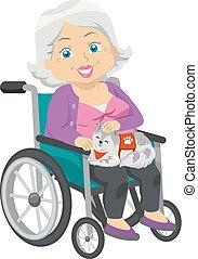 vrouw, dienst, wheelchair, illustratie, kat, senior