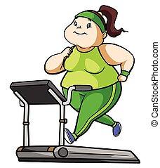 vrouw, dik, fitness