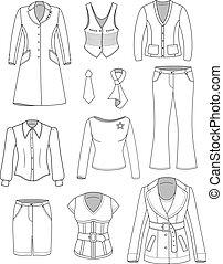 vrouw, directeur, set, bovenzijde, kleren