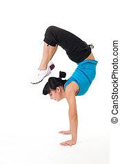 vrouw, doen, evenwicht, uitrekkende oefening