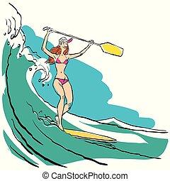 vrouw, doen, opstaan, paddling, op, peddel, plank, op, water, op, seaside.