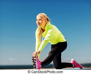 vrouw, doen, sporten, buitenshuis