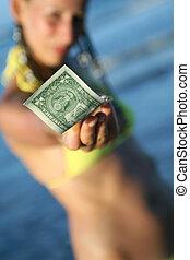 vrouw, dollar, vasthouden