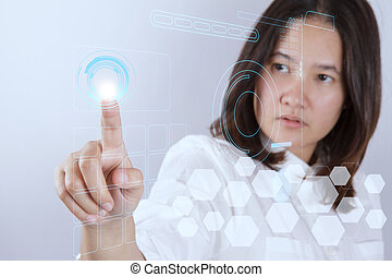 vrouw, doorwerken, moderne technologie
