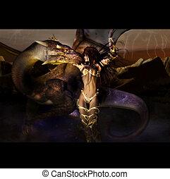 vrouw, draak