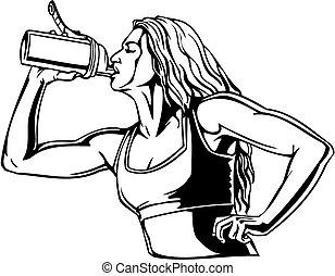 vrouw, drinkt, van, een, shaker, -, sporten, nutrition.,...